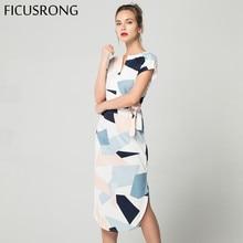 ФОТО ficusrong 2018 new causal summer dress female v neck maxi geometric output beach dress women's vintage dress with belt vestidos