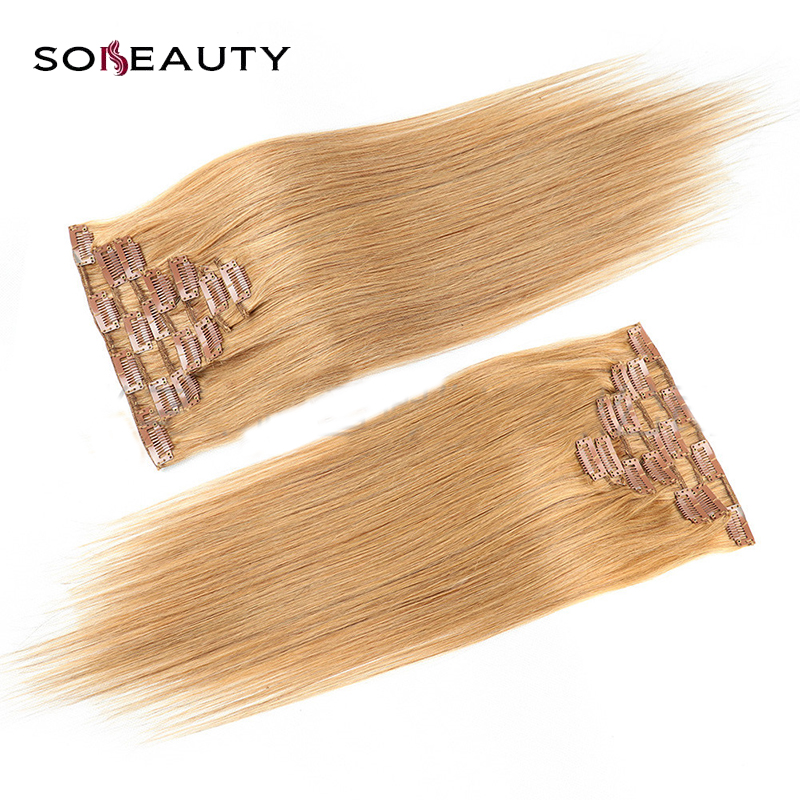 Sobeauty Clip In Human Hair Extensions Straight 7pc Set Non-Remy Hair Brazilian  Hair Blonde 14'' 16'' 18'' 20''' 22'' 120g/set(China)