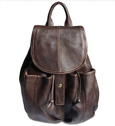58d30b1f817c Модные Винтаж коричневый Обувь для девочек женские кожаные рюкзак женщины  рюкзак из натуральной кожи Школьные рюкзаки