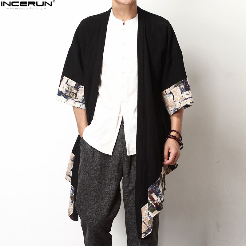 INCERUN Autumn Retro Chinese Men's Cardigan   Trench   Wide-Waisted Three Quarter Open Stitch Coat Jackets Plus Size S-5XL Tops Male