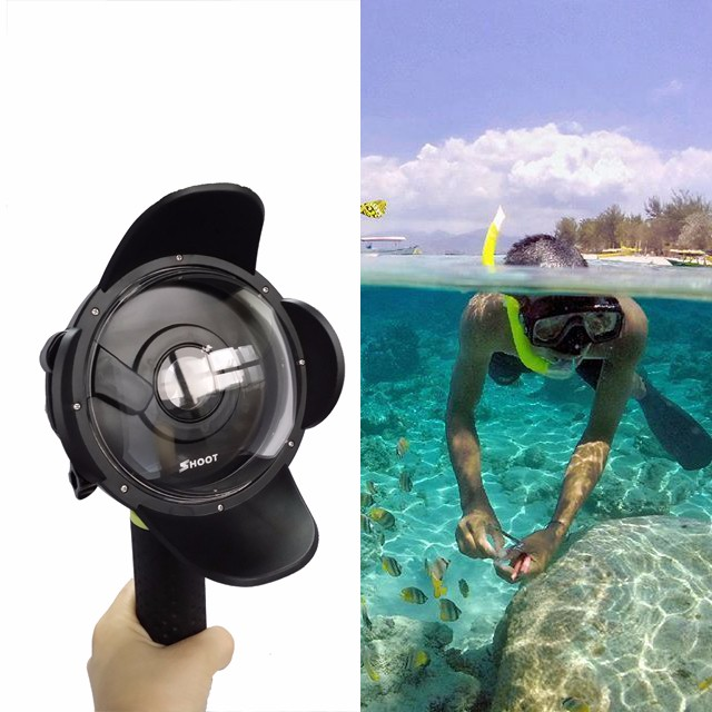 Diving Dome Port for Xiaomi Yi Action camera Portable Underwater Photography Lens Housing monopod accessory for Xiaoyi 30 mi diving dome port underwater lens housing for xiaoyi 4k xiaoyi 2 camera with waterproof case hood cover case pistol tigger