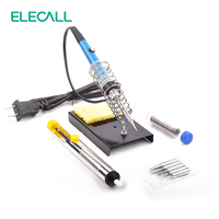 50W 220V Electric Adjustable Temperature Welding Solder Soldering Iron Welding Tool With Suction Tin 5pcs Iron