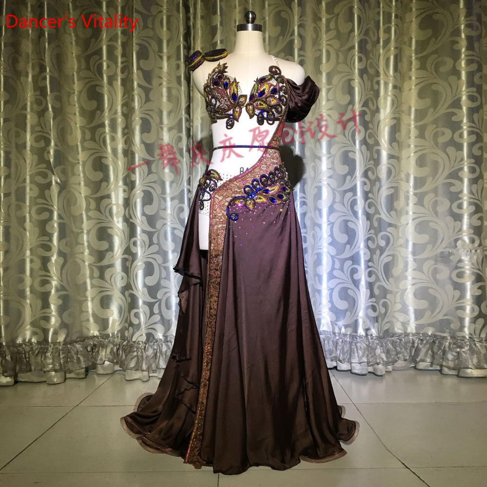 Senior Belly Dance Suit Luxury Hand Made Diamond Women Performance Clothes For Bellydance Stage Competition Dancewear