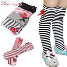 Kids Baby Stripe Knee Stocking 1-8 years Children Legging Bowknot Cotton Sock Leg Warmers