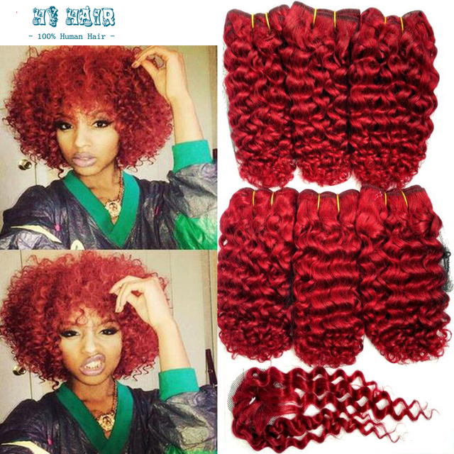 6a Cheap Brazilian Human Curly Weave 6 Bundles With A Closure Red