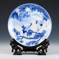 Longevity Crane And Plate Ceramic Ornamental Plate Chinese Decoration Plate Wood Base Porcelain Plate Set Wedding Gift