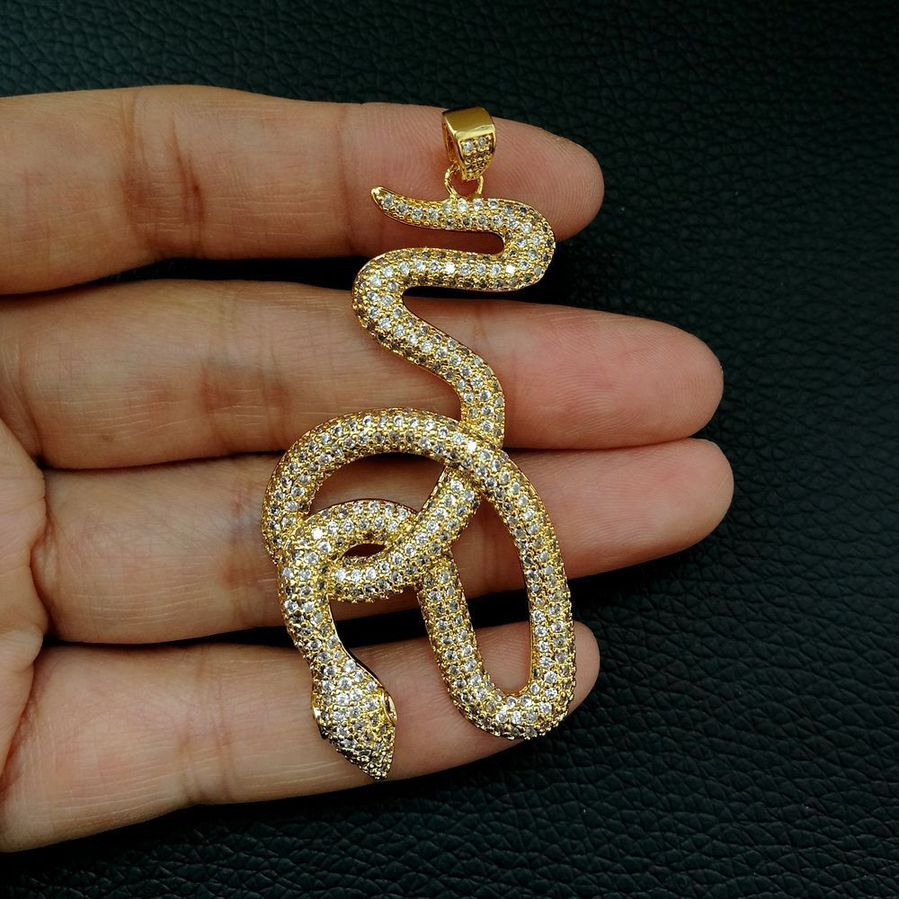 1pc  gold plated Cz micro Snake  Charm  Pendant  DIY Jewelry Findings