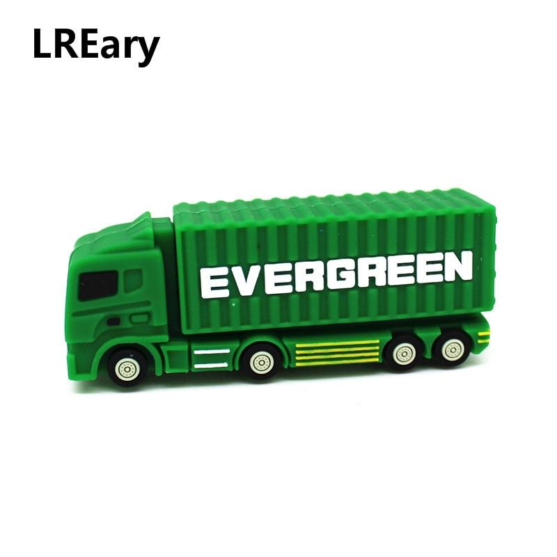Creative Cargo Truck Model USB Flash Drive 128MB 4GB Pen Drive 8GB 16GB 32GB 64GB Memory Stick U Disk Pendrive Container Car