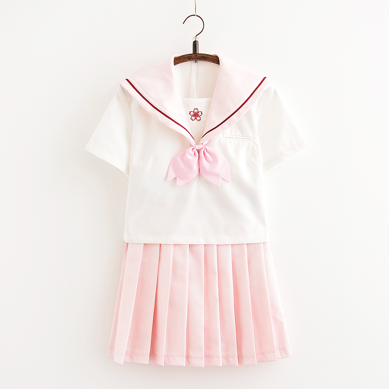 Svitania Pink Sakura Japanese School Short Sleeve JK Uniform Sailor Suit High School College Suit Female Students Uniforms