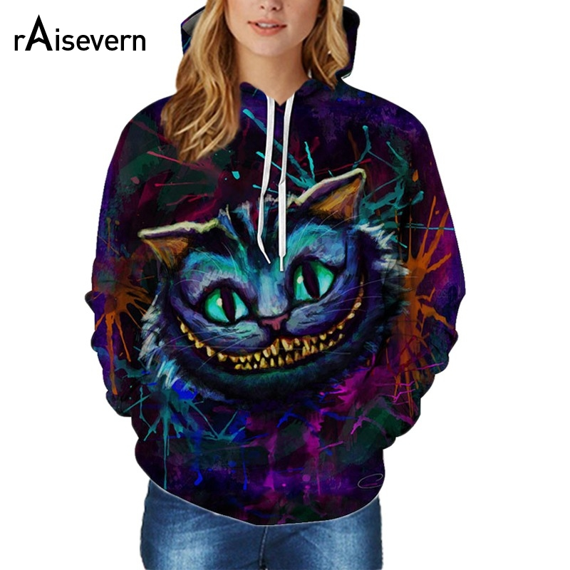 Raisevern Fashion Hoodies 3D Cheshire Cat Thin Hooded Pullovers Tops Plus Size Sweats Hoody Tracksuits Dropship