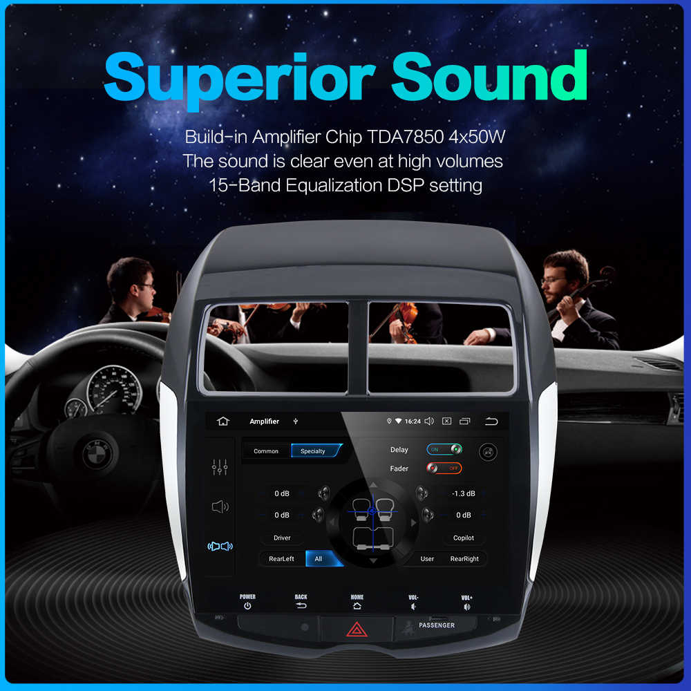 Para mitsubishi asx peugeot 4008 citroen c4 cruz de ar do carro 1 din android 9.0 estéreo multi tela toque rádio mp3 usb multimídia