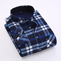 2016 Luopei Men's Winter Casual Plaid Shirts Keep Warm Long Sleeve Flannel Turn Down Collar Male Slim Fit Clothing