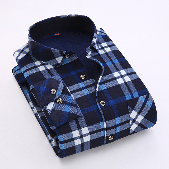 2016 luopei invierno hombre plaid camisas casual keep warm franela manga larga turn down collar hombre slim fit clothing