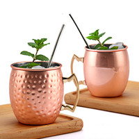 4 pcs/lot 550ml 304 Stainless Steel Moscow Mule Mugs Copper Plated Coffee Mug Travel Cup Free Water Bottle for Camping Party CL2