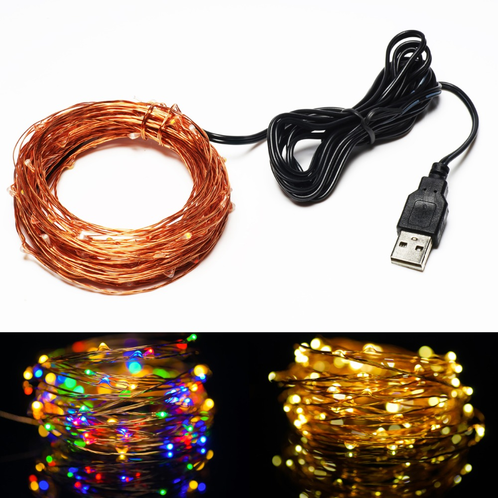 5V USB Operated 33FT 10Meters100led Christmas Holiday Wedding Party Decoration Festival LED Copper Wire String Fairy