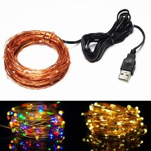5V USB Operated 33FT 10Meters100led  Christmas Holiday Wedding Party Decoration Festival LED Copper Wire String Fairy Light Lamp