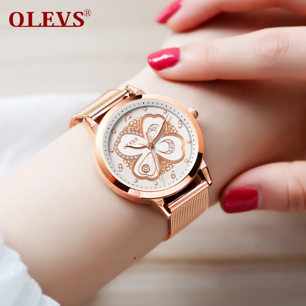 OLEVS Rose Gold Watch Women Quartz Watches Ladies Top Brand Luxury Crystal Diamond Female Wrist Watch Girls relogio feminino