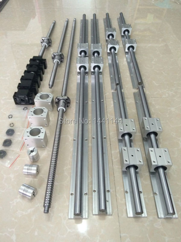 6 sets linear guide rail SBR20-400/800/1500mm+4 SFU1605-450/850/1550/1550mm ballscrew+4 BK/BK12+4 Nut housing+4 Coupler cnc 180 400 800 1500 oilstone edge sharpener 4 pcs