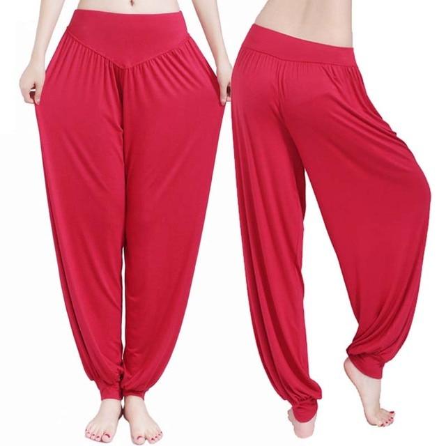 Women high waist Long Pants Harem Youga Modal Dancing Long Trouses Wide Loose Leg Belly Dance Comfy Boho Pants colors YF483 5