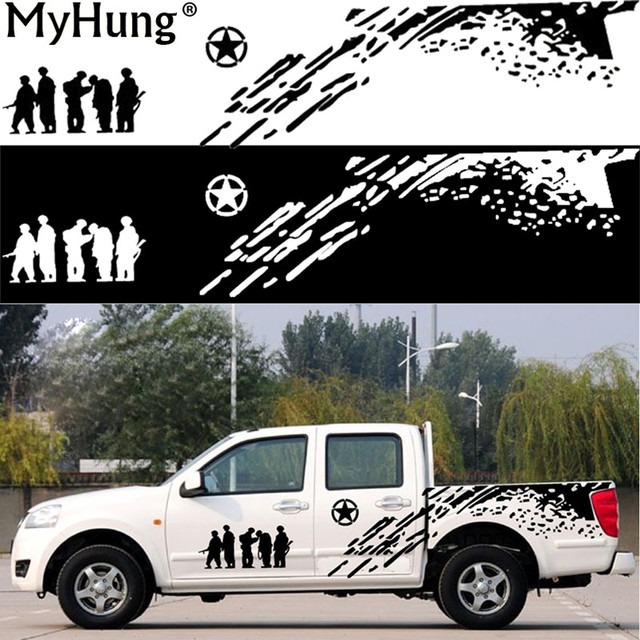 2018 new arrive 2pcs creative us army car whole body sticker decoration for hummer land rover