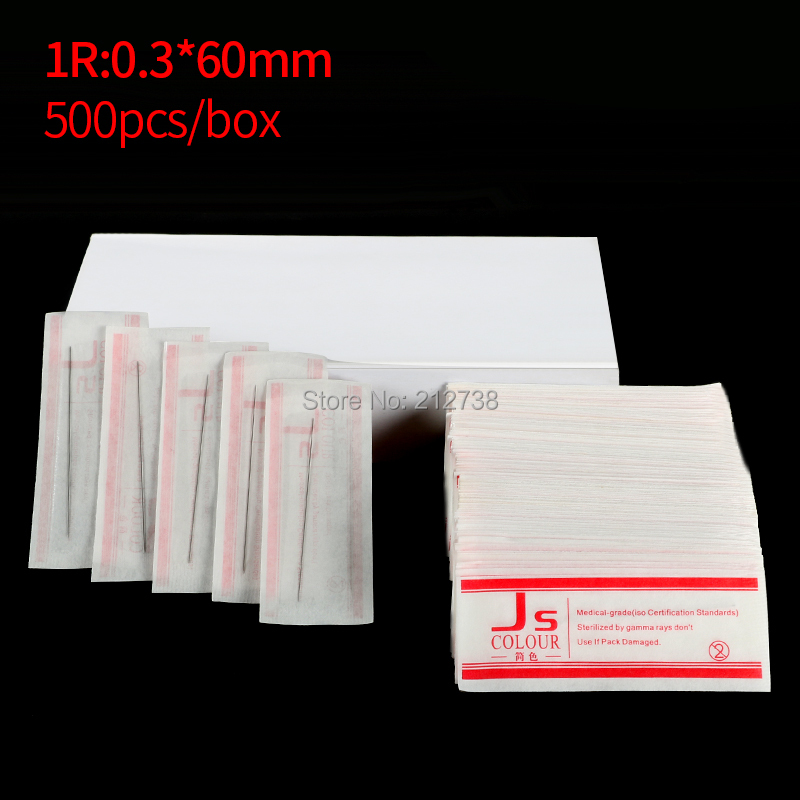 500 Pcs/Box 0.3x60mm 1R Needles For Permanent Makeup Eyebrow And Lip 3D Embroidery Tattoo Machine Free Shipping