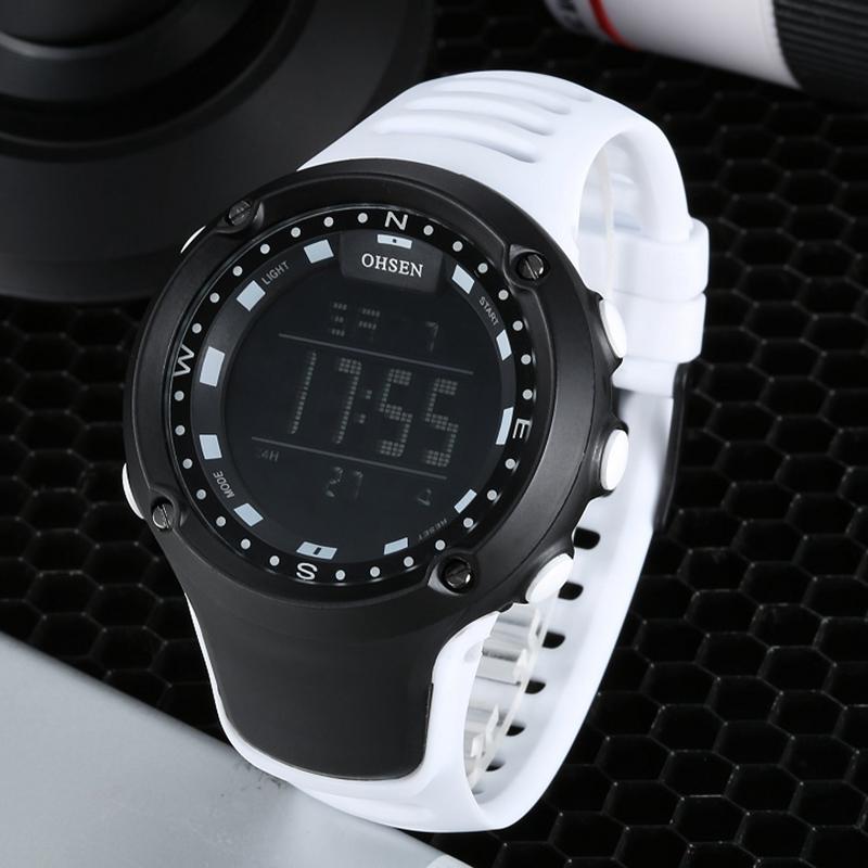 Prix pour Nouvelle arrivée OHSEN marque de mode LCD Numérique Mens montre en caoutchouc bande 50 M étanche blanc grand cadran sport montres militaires