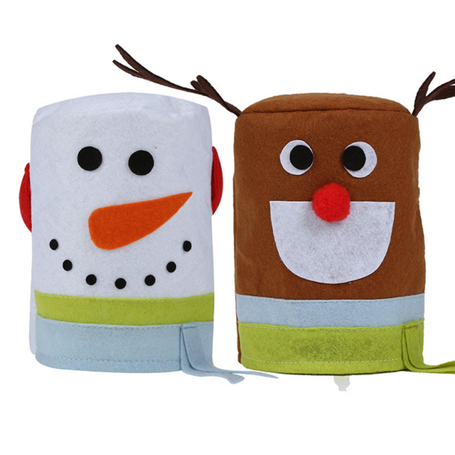 2PC/LOT Merry Christmas Snowman And Elk Toilet Roll Paper Holder Bathroom  Tissue Boxes Cover