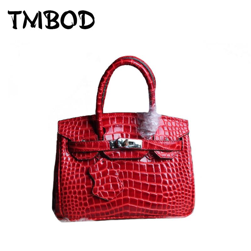 New 2017 Designer Classic Alligator Tote Women Genuine Leather Handbags Ladies Shoulder Bag Messenger Bags For Female an830 new mini luxury tiger head 3d relief designer alligator serpentine women handbags shoulder leather bags tote bag