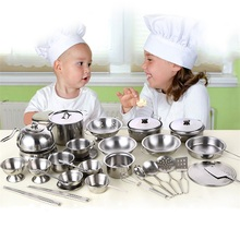 Kitchen Toys Educational Kids Kitchen Utensils House Cooking girls boys Pretend Play Style Stainless Steel Kitchen goods toy