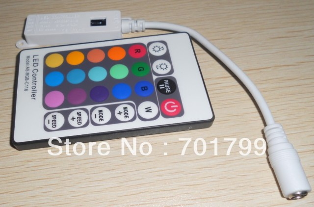 white 24key IR Mini RGB controller,DC12V input,2.3A*3 channel output