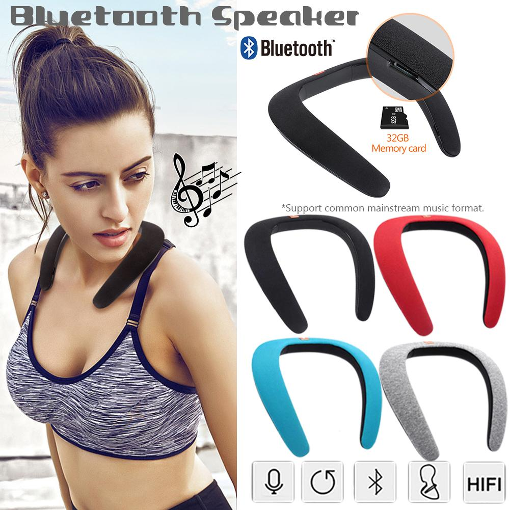 Wireless Bluetooth Portable Mp3 Player Neck Novelty Bluetooth Wearable Speaker Subwoofer Magic Bluetooth Sports Speaker hip hop portable wireless bluetooth speaker black