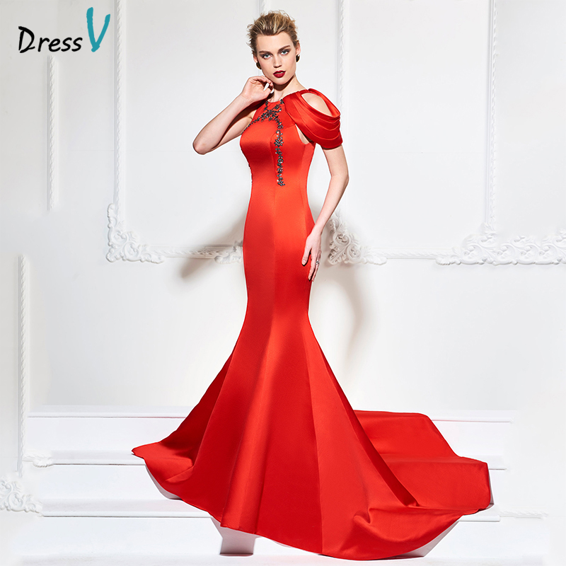 Dressv red long evening dress mermaid cap sleeves zipper up ...