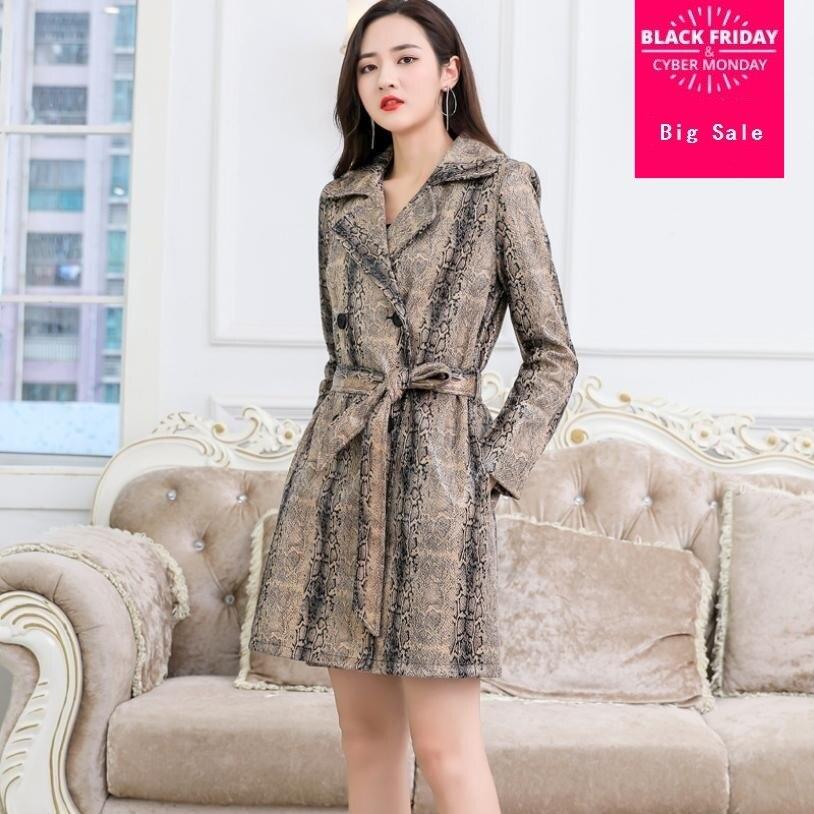 Autumn and Winter womens PU   leather   coat windbreaker imitation snakeskin long-sleeved jacket female slim outwear L1466 with belt