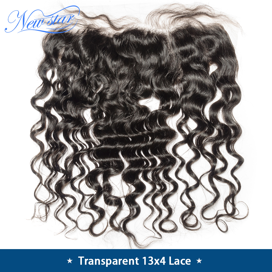 Closure Brazilian Lace-Frontal Transparent Human-Hair Pre-Plucked 13x4 New Star Loose