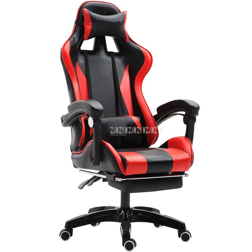 Adjustable Office Chair With Footrest Ergonomic High-Back Faux Leather Racing Style Reclining Computer Gaming Executive Recliner