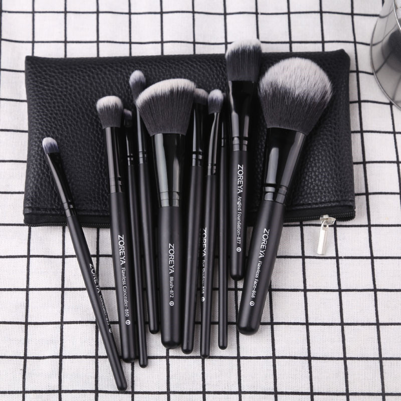 Image 5 - Zoreya Brand Black Makeup Brushes 10pcs Synthetic Fibers Cosmetic Kit Crease Eye Brow Blush Powder Brush For Make Up BeginnerEye Shadow Applicator   -