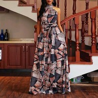 Women Summer Elegant Long Dress Off Shoulder Evening Fashion Color Block Sleeveless Robe Ladies Party Sexy Halter Maxi Dresses