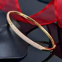 Caimao Natural 1.80ctw Diamond Bangle 18k Yellow Gold Pave Set Engagement Jewelry for Women