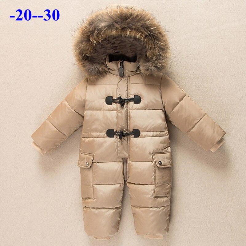 db933f2d Ruso recién nacido invierno ropa de bebé traje de nieve 90% pato abajo  chaqueta para niña abrigo ...