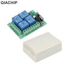 Switch com controle remoto universal qiachip, módulo de receptor e relé rf de 12v dc 4 ch para casa inteligente portão da garagem 433 mhz