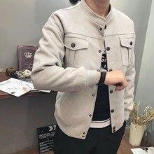 2018 outono e inverno novo estilo Britânico homens da moda cor sólida gola  casuais roupas de beisebol jaqueta de camurça c69f2197910