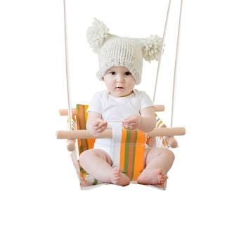 Baby Hammock Swing Canvas Hanging Chair With Cushion Todder Outdoor Indoor Wooden Swing Rocker Free Ship Trade
