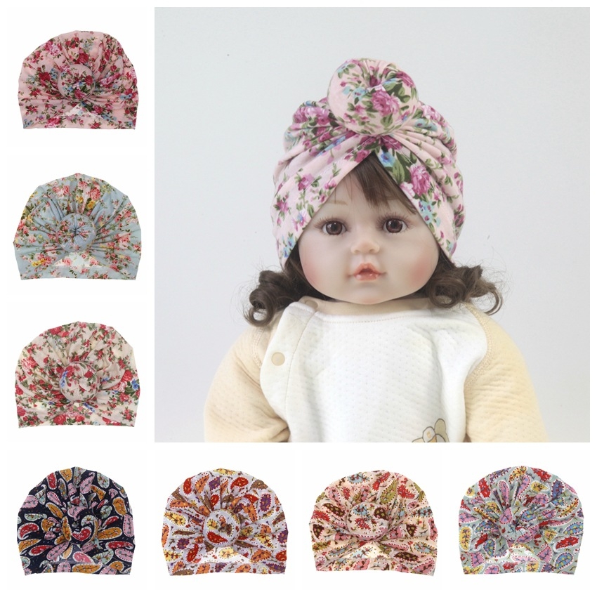 2019 Fashion Newborn baby printing popular hats Boy Girls Turban Cotton cloth Beanie Hat cute Flower Donut Soft Caps 8 colors(China)