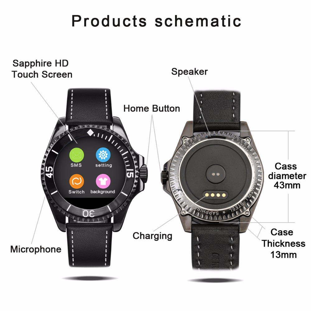 Binlun Smart Watch Bluetooth Touch Screen For Iphone Android The Diagram Of A Rolex Below Shows Case In Detail Information Display Sports Pedometer Mechanical Watches From