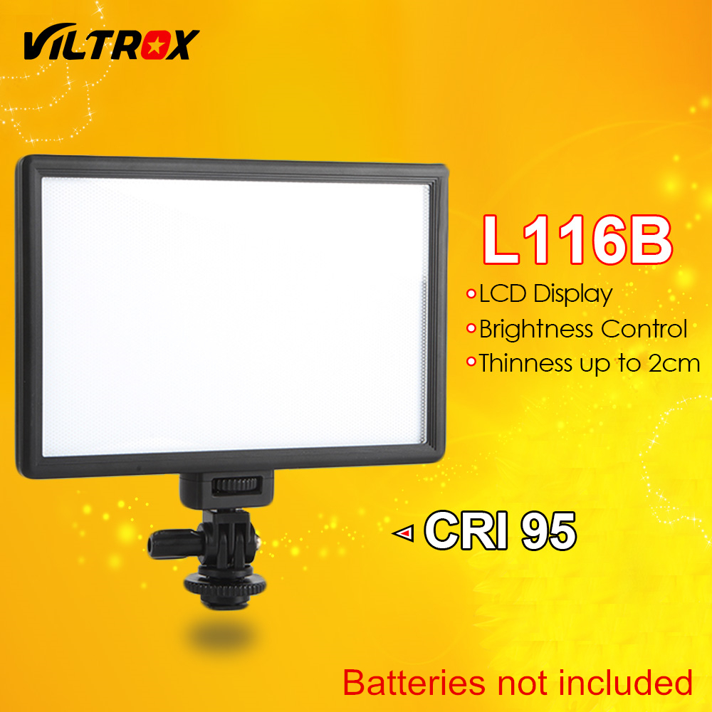 Viltrox L116B Camera Super Slim LCD Display Dimmable Studio LED Video Light Lamp Panel for Camera DV Camcorder DSLR PhotoViltrox L116B Camera Super Slim LCD Display Dimmable Studio LED Video Light Lamp Panel for Camera DV Camcorder DSLR Photo