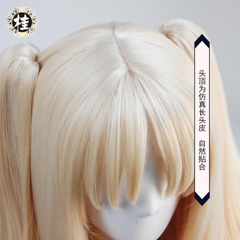 FGO Fate Grand Order Ereshkigal Cosplay Wig Servant Lancer Ponytails Light Blonde Facial Hair