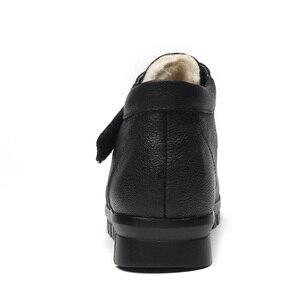Image 4 - DRKANOL Fashion Echtes Leder Runde Kappe Frauen Schnee Stiefel Winter Flache Stiefeletten Frauen Baumwolle Schuhe Plüsch Warme Botte Femme