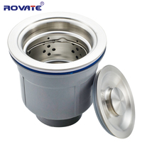 ROVATE 304 Stainless Steel Kitchen Sink Drain With Filter Basket And Sealing Cover Sink Stopper Strainer