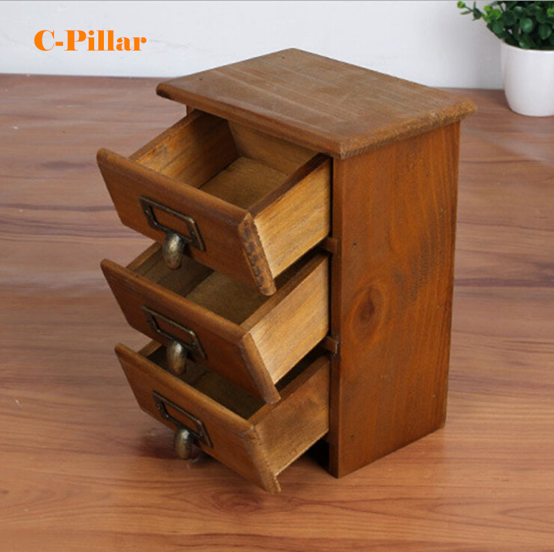 New Arrival Three Layer Retro Small Wood Storage Cabinet Drawers Home Organizer Natural Antique Wooden Box With Zinc Handles In Holders Racks From