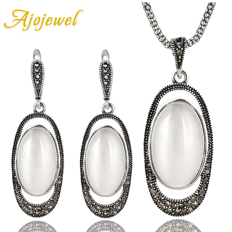 Ajojewel New Arrival White Opal Jewelry Sets 2017 Vintage Jewelry Set Stone Earrings Necklace & Pendant vintage faux opal floral necklace jewelry for women